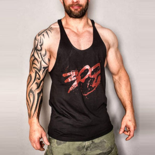 MENS Racerback Bodybuilding Stringer Tank Top